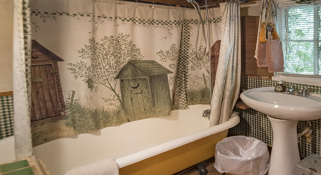 A clawfoot tub with a shower curtain showing bird houses and white pedestal sink