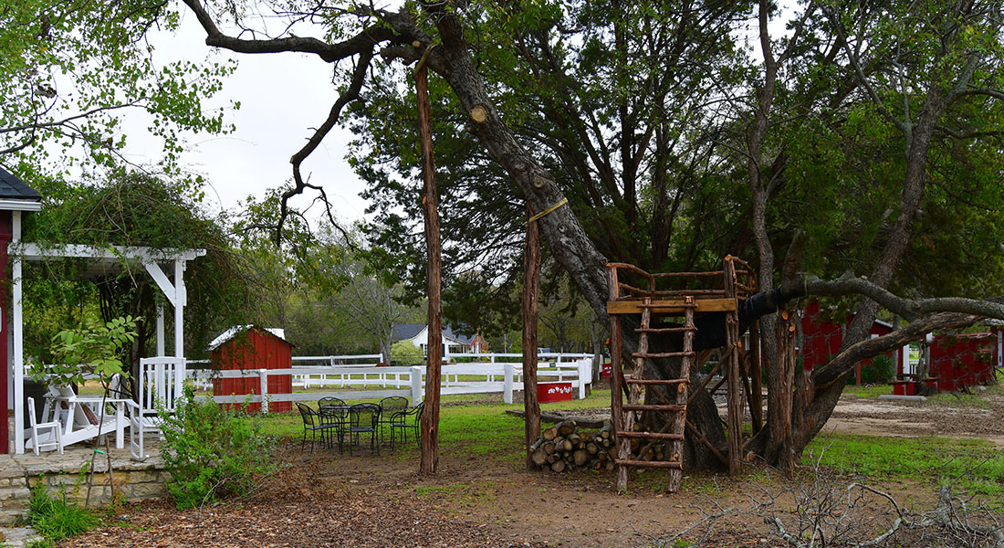 A treehouse made of cedar with ladder in front of a white fence