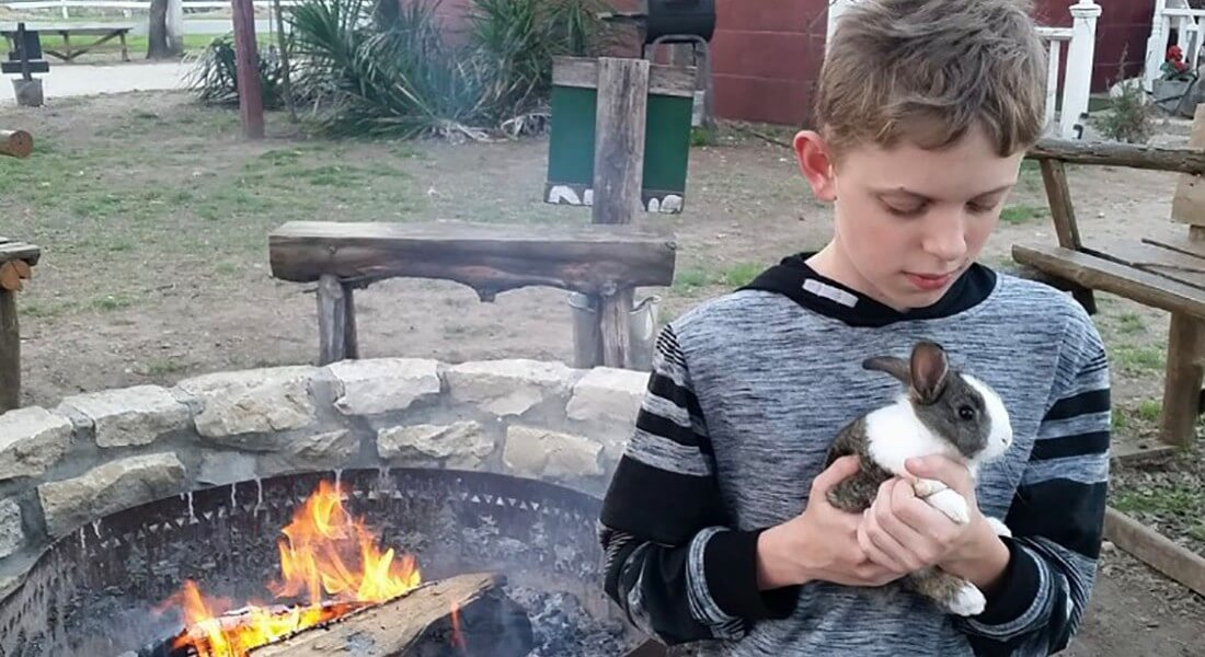 Young boy carefully holds a grey and white rabbit, standing near a fire pit.