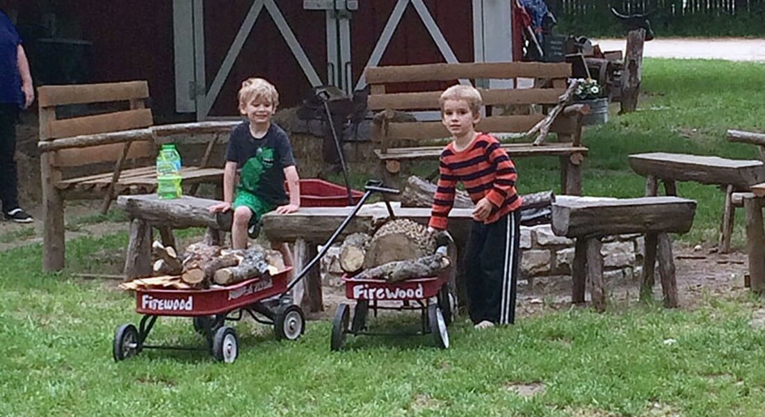 Two little blonde boys site on wooden benches neat red wagons full of firewood.