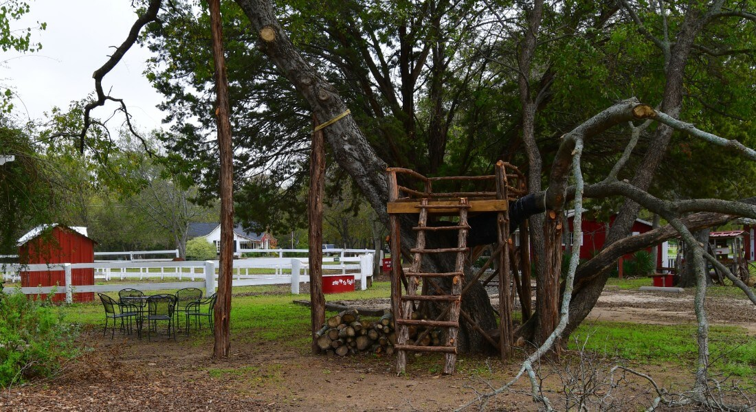 Large old tree holds a raised platfom next to a patio set.
