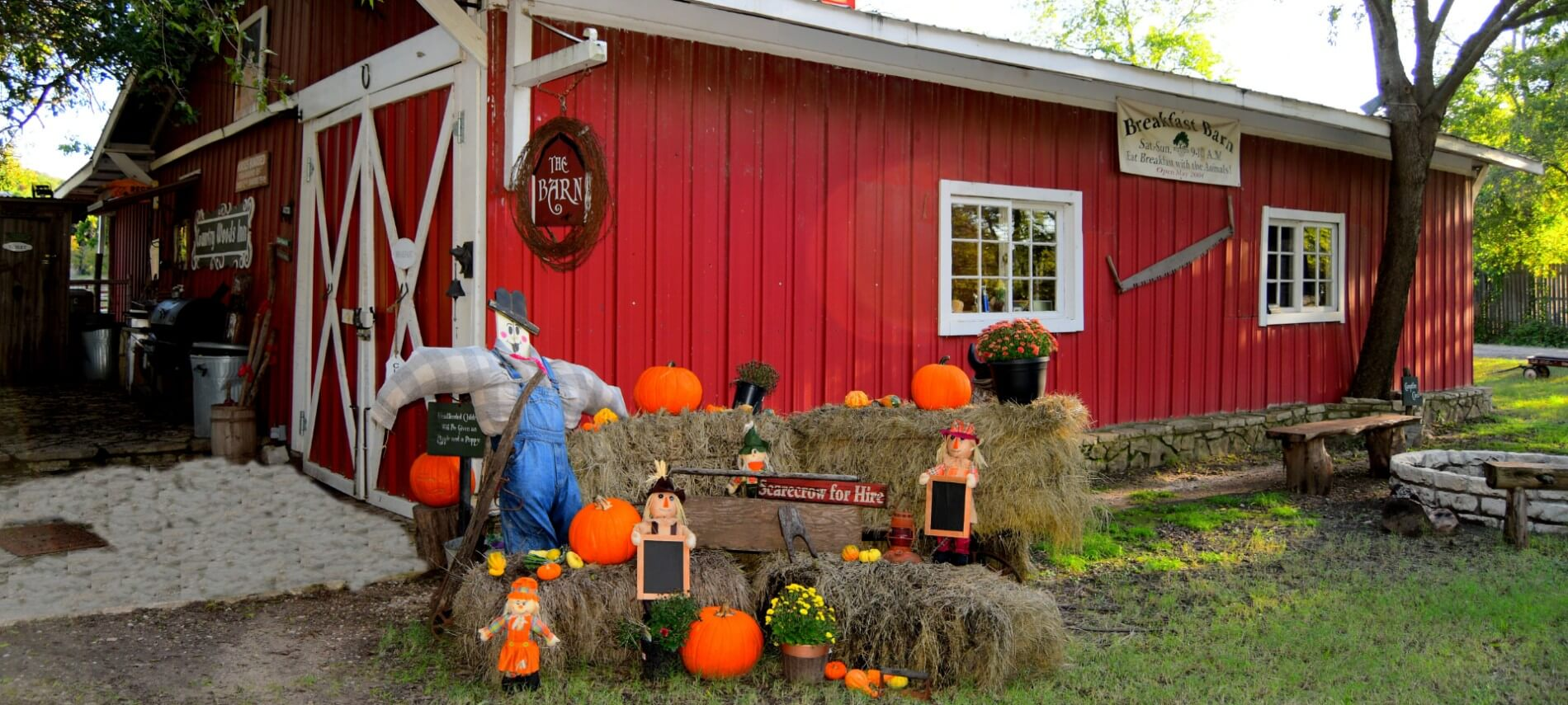 Red barn decorated for fall with scarecrow and pumpkins on hay bales.
