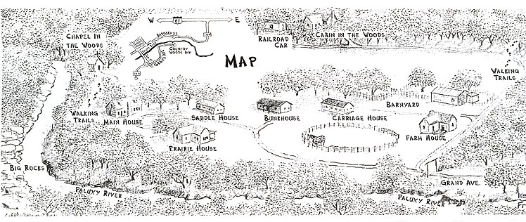 Hand drawn map of property layout and cabins